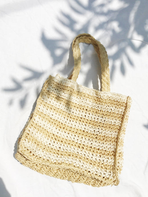 Petite Striped Raffia Bag