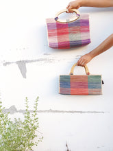 SALE Plaid Raffia Bag with Oval Handles