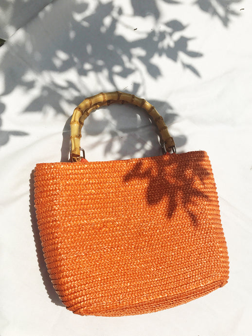 Orange Wheat Straw Bamboo Bag