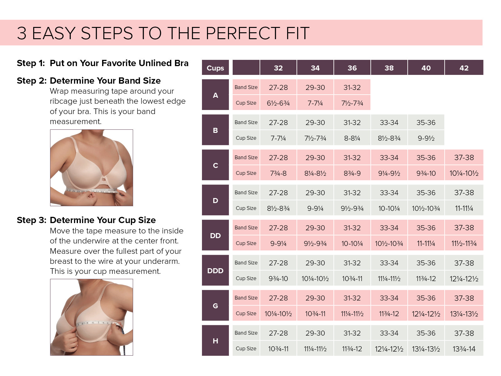 Bra Size Chart Measurement Guide