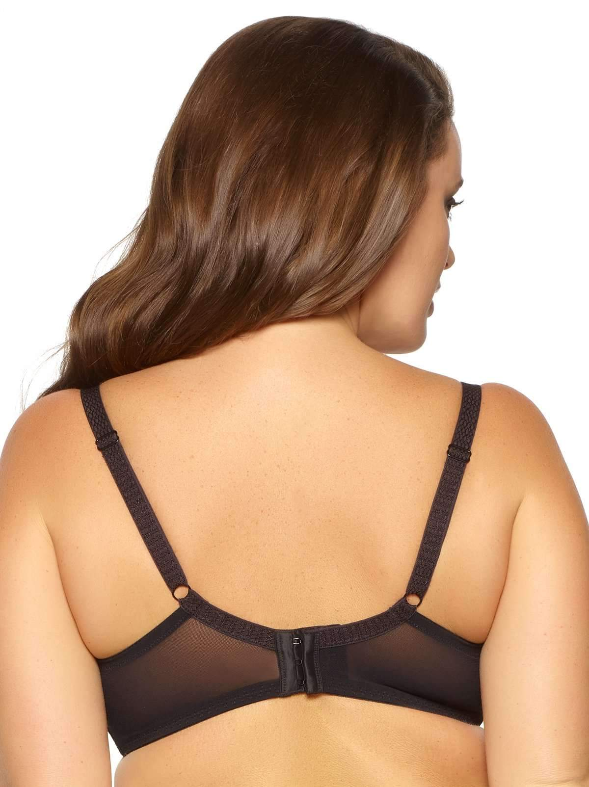 Paramour by Felina Dahlia Geo Lace 4-Section Cup Bra back shot color-black