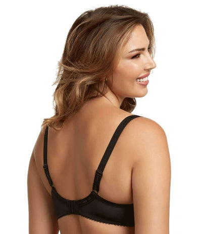 Paramour by Felina Sweet Revenge Unlined Bra back shot color-black ivory dot