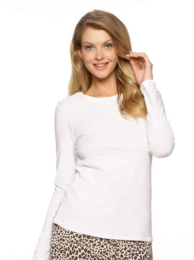 Felina Key Item Long Sleeve Crew Neck Tee color-white