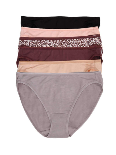 Jezebel So Smooth Hi Cut Panty 6-Pack color-plum nude combo