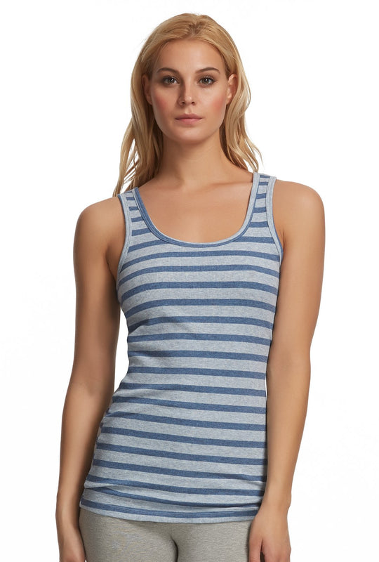 ribbed tank top color-denim stripe