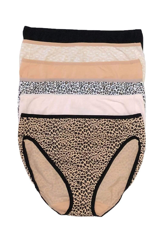 Felina Cotton Stretch Hi Cut Panty 6-Pack color-animal neutrals