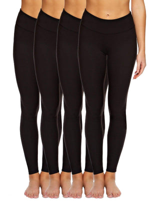 Sueded Athletic Performance Legging w/ Slimming Waist 4-Pack