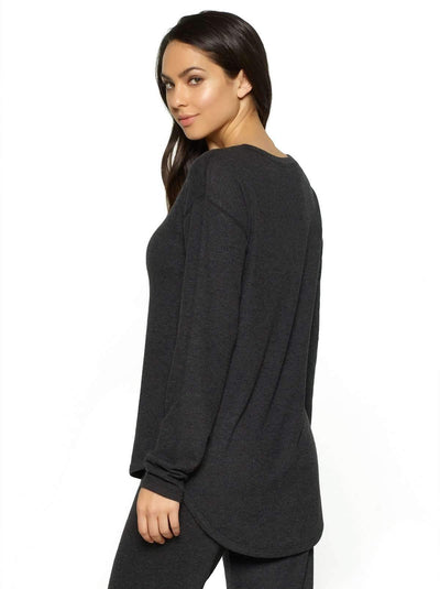 Felina Victoria Long Sleeve Crew Neck back shot color-charcoal