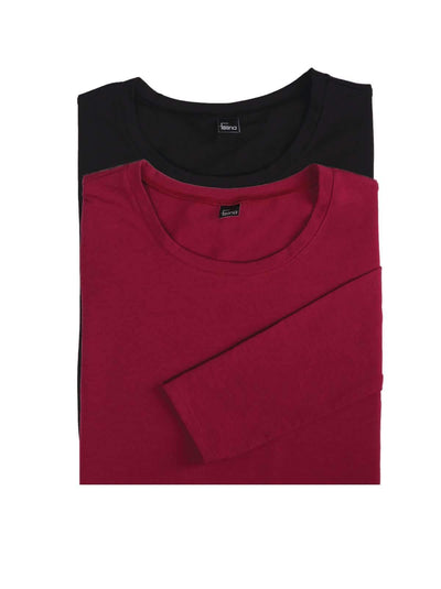 Felina Key Item Long Sleeve Crew Neck Tee 2-Pack color-black beet red