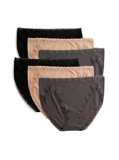 Felina Pima Cotton Hi Cut Panty 6-Pack color-neutral combo