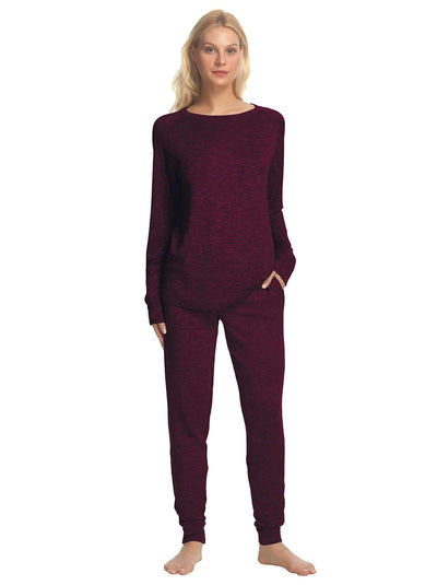 Felina V-Notch Crew Neck & Jogger Set color-beet red