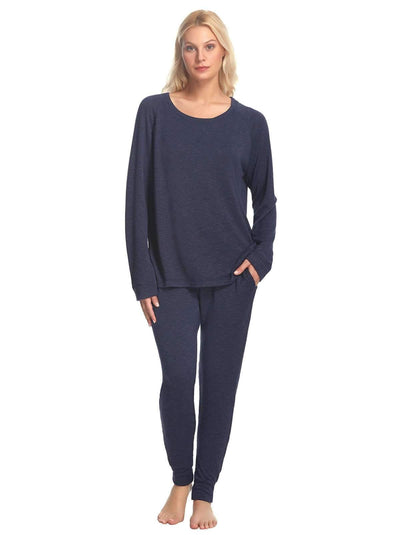 Felina V-Notch Crew Neck & Jogger Set color-blue indigo