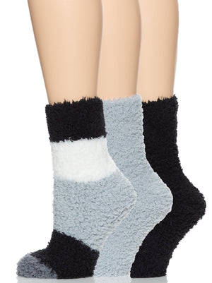 plush crew socks color-gray scale