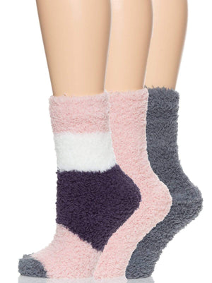 plush crew socks color-pinky gray