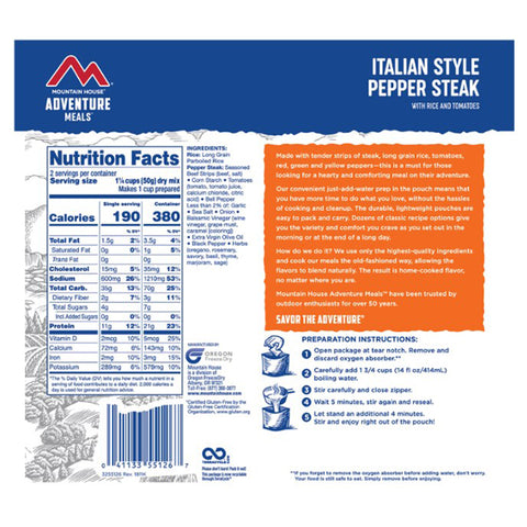 Mountain House Italian Style Pepper Steak by Mountain House | Camping - goHUNT Shop