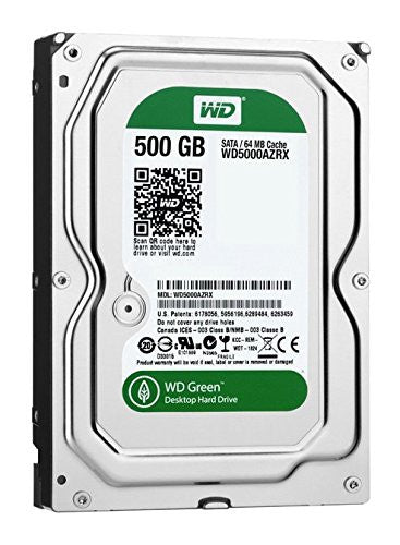 WD Green 500GB Desktop Hard Drive: 3.5-inch, SATA 6 Gb/s, IntelliPower, 64MB Cache WD5000AZRX