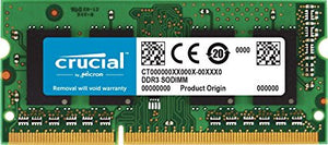 Crucial 2GB DDR3L 1600 MT/s (PC3L-12800) SODIMM 204-Pin - CT25664BF160B