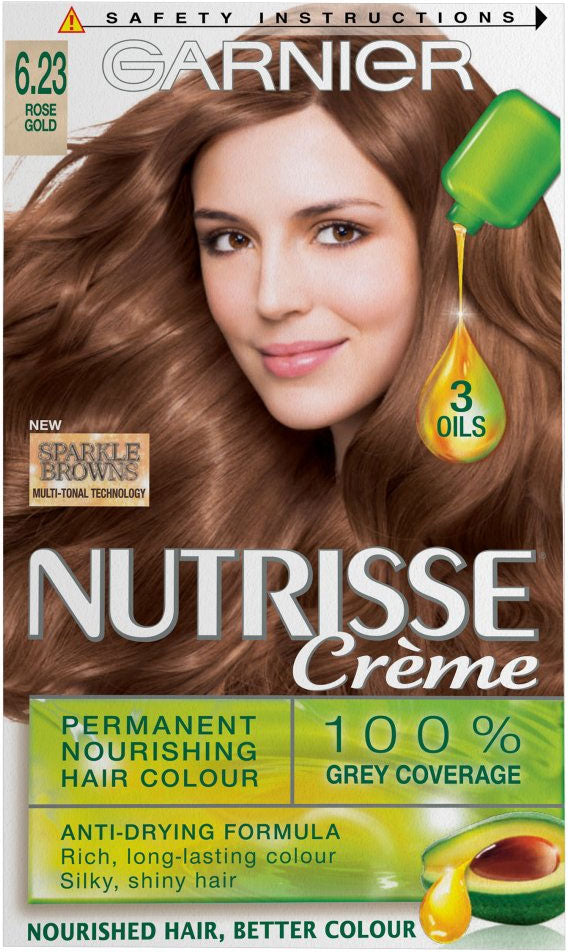 Garnier Nutrisse 623 Rose Gold Brown Permanent Hair Dye Home