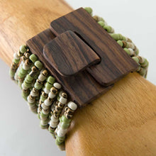 Beaded Bracelet with Wood Buckle