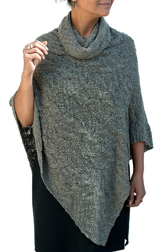 Cowl Neck Cable Knit Pointed Front Poncho