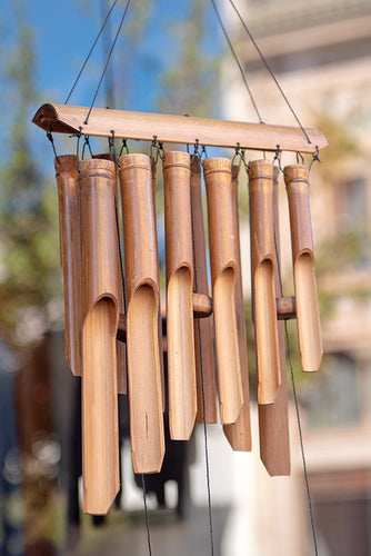 Bamboo wind chimes double row