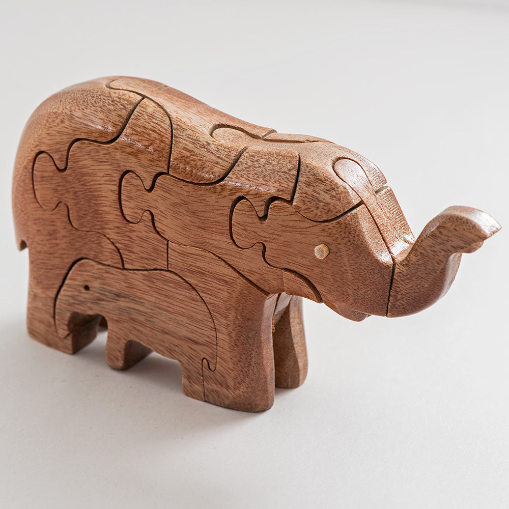 Wooden Elephant and Baby Puzzle