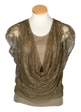 Lace Sleeveless Draped Front Top