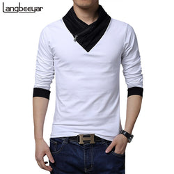 2017 New Fashion Brand Collar Slim Fit Long Sleeve T Shirt Trend Casual Menswear T-Shirt Cotton T Shirts M-5XL