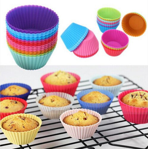 12 pcs Silicone Cake Cupcake Liner Baking Cup Mold  Muffin Round Cup Cake Tool Bakeware Baking Pastry Tools Kitchen
