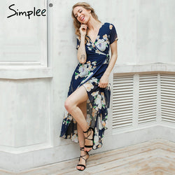 Simplee Sexy floral summer dress Maxi wedding party dress women Boho V neck vintage dresses skirt
