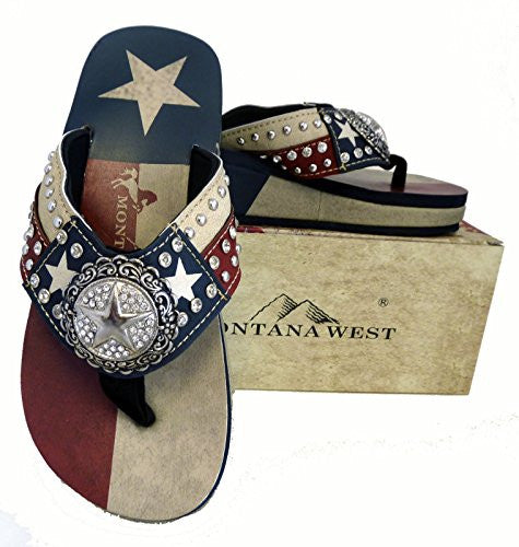 Montana West Ladies Flip Flops Texas Lone Star Flag Navy Blue