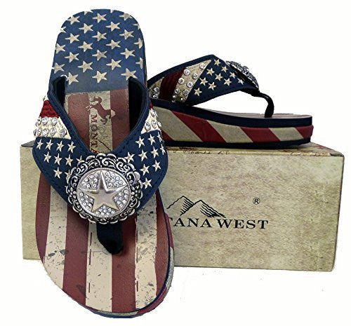 Montana West Ladies Flip Flops American Pride USA Flag Navy Blue