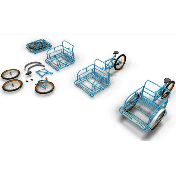 Foldaway Cargo Tricycle Shown Disassembled to Assembled