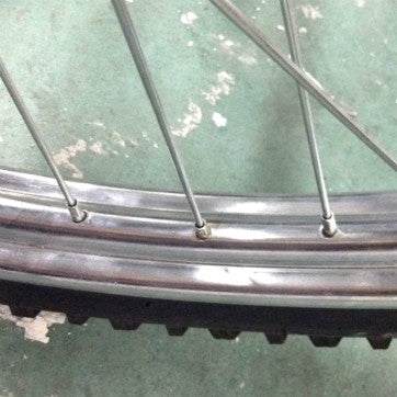 Heavy Duty Industrial Front Bicycle Wheel Close Up View