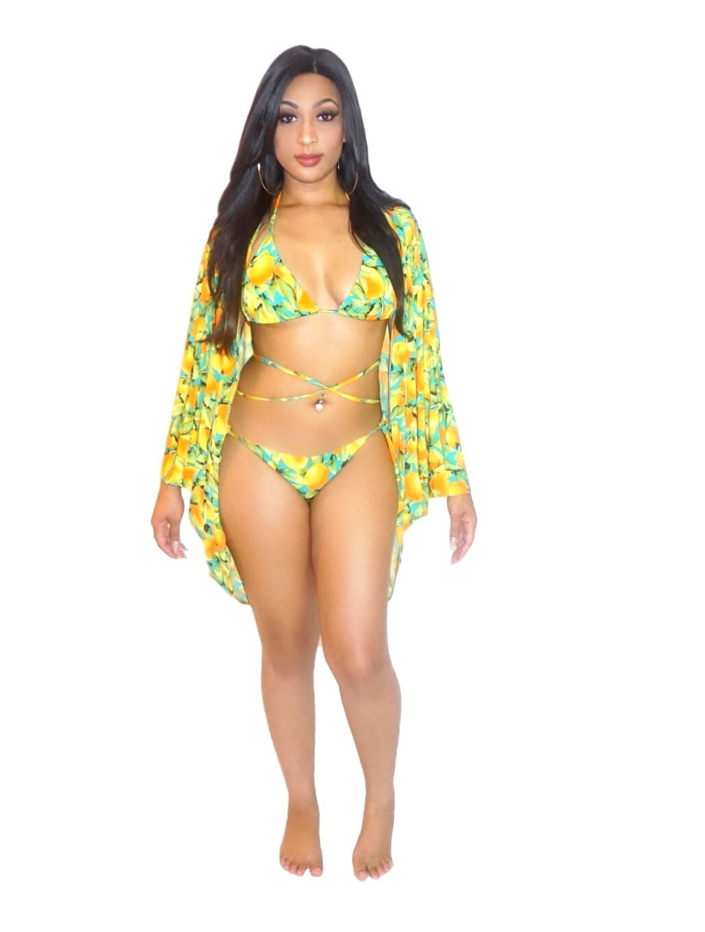 b63e64d4bd Lemon design swim suit set includes bikini and cover up