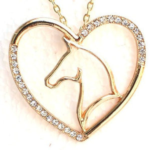 Crystal Horse Heart Necklace