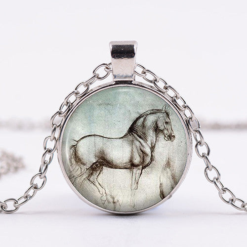 Da Vinci Sketch Horse Necklace
