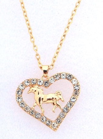 Golden Horse Heart Necklace