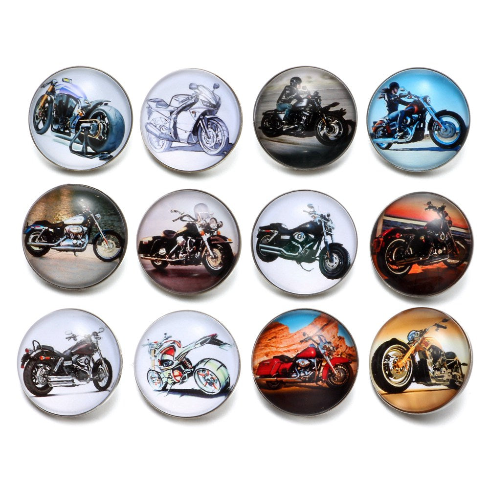 Motorcycle Snap Buttons for Snap Jewelry--Set of 12