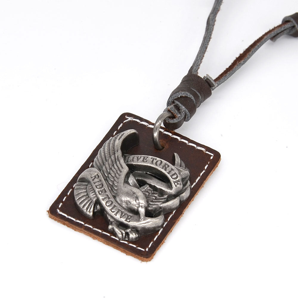 Live to Ride Leather Charm Necklace