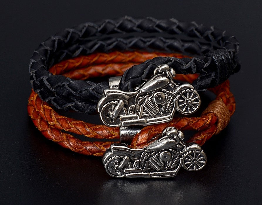 Men's Braided Leather Bracelet with Motorcycle Charm