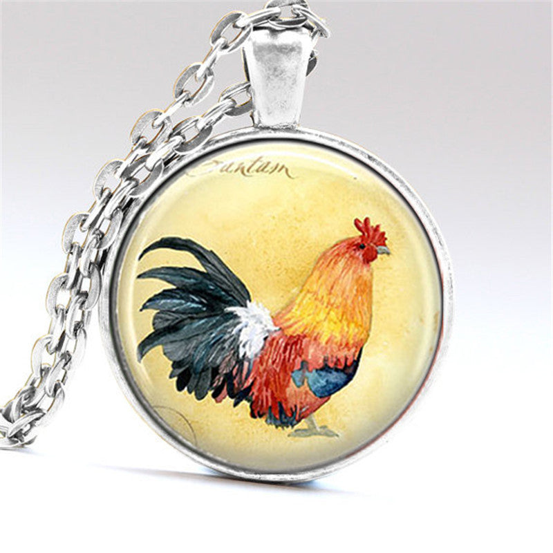 Rooster Portrait Necklace