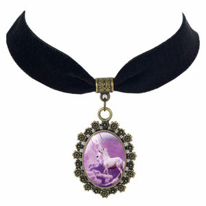 Horse Portrait Velvet Choker Necklace
