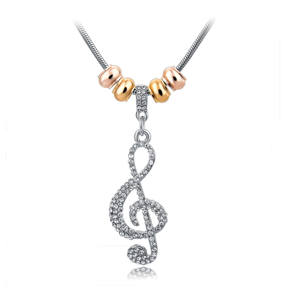 WOWzer Crystal Studded Treble Clef Necklace