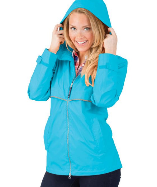Monogrammed New Englander Rain Jacket Wave