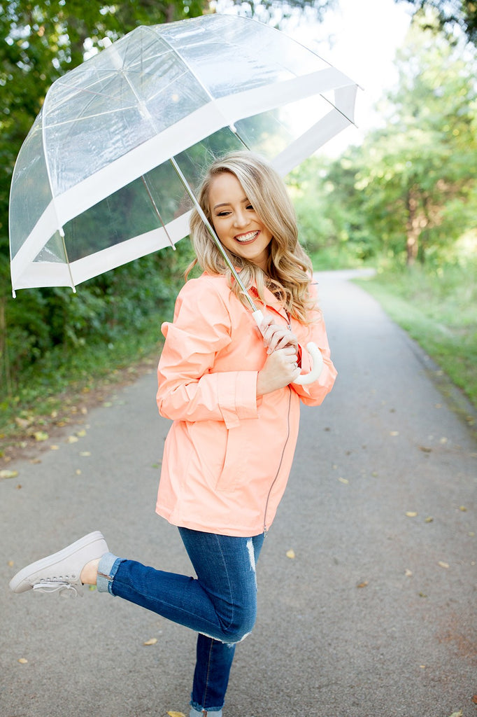 63f1a64e0 Monogrammed New Englander Rain Jacket Bright Coral