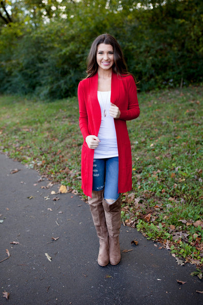Everyday Casual Cardigan Red