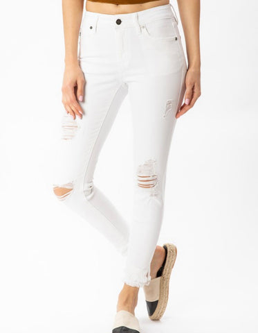 Gemma White Mid Rise Ankle Skinny