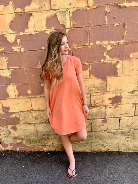 Feeling Simply Breezy Dress-Coral