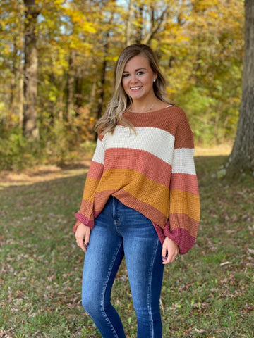 Multicolored Striped Long Sleeve Knit Sweater